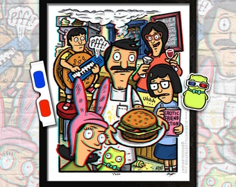 "BURGER of the Day 3D Poster w/ Glasses & Sticker - 16x20"" 3D Illustration with Hidden Show References - Signed Ltd Edition"