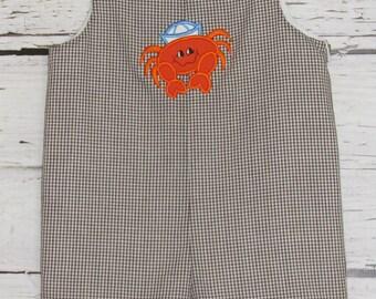 Boys Shortall Longall Applique Crab Summer Jon Jon Monogram Romper Beach Shortall