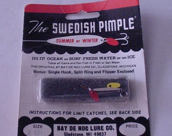 "Collectible Fishing Lure ""The Swedish Pimple"" American Made Solid Brass In Original Package Lake Cabin Decor"