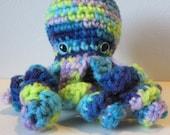 Ocean the Baby Octopus : handmade crochet small green & blue stuffed toy