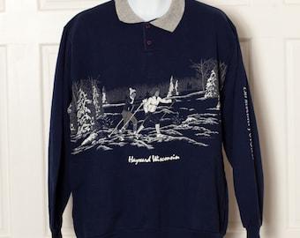 Vintage 80s Hayward Wisconsin Collar Sweatshirt - cross country skiers - XL