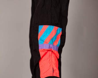 Rad 80s 90s Windpants with Colorful Neon - MacGregor - L