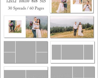 SALE 12x12 Millers Album Template 60 Page - Includes 12x12, 10x10, 8x8, 5x5 - INSTANT DOWNLOAD - ALB30