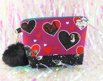 Hearts Star Wars fuchsia black galaxy makeup bag pompom
