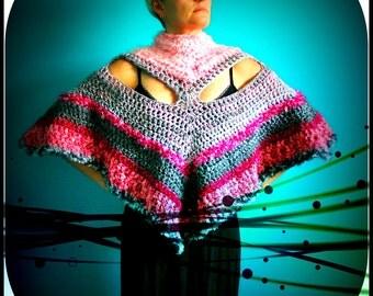 Crochet Poncho,Knit Poncho,Wrap,Shawl,Cape,Capelet,Womens Poncho,Sweater,Grey,Pink,Gypsy,Hippie,Boho,Handmade,One Size,Sexy,