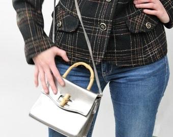 Suzy Smith Metallic Pewter Handbag with Bamboo Handle and Clasp