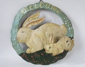 Welcome Sign, Vintage Metal Hand Painted Bunny Rabbit 3-D Spring Easter Rustic Cottage Farm Farmhouse Decor