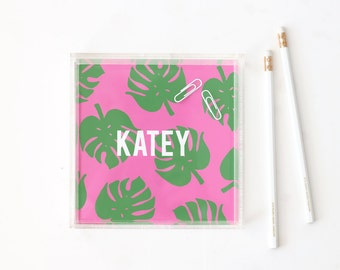 Personalized Acrylic Tray Custom Lucite Tray Tropical Leaf Jewelry Tray Monstera Leaf Bar Cart Tray Pink Green Vanity Tray Bridesmaid Gifts