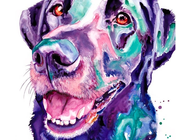 "Featured listing image: 11x14"" Black Lab Dog Art Abstract Watercolor Art Print Watercolor Black Lab Dog Print Black Lab Painting Black Lab Dog Abstract Watercolor"