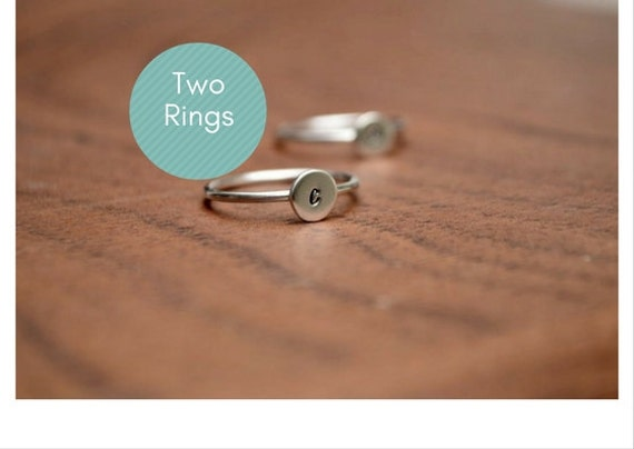 TWO Personalized Ring - Solid Sterling Silver - Stackable - Personalized - Custom Jewelry