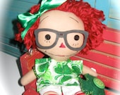 "Small 10"" Primitive Annie Ann Irish RED Hair Raggedy Doll With Glasses OOAK"
