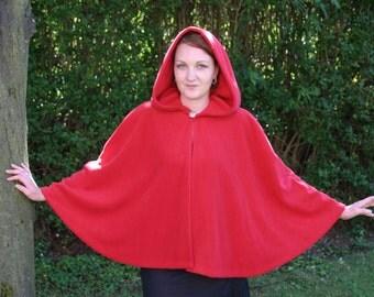 Legendary Fleece Hooded Short Cloak / Cape - Unisex  Medium - Dark Red and Large - Black / Dark Red