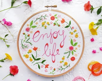 Christmas embroidery, Christmas gifts for her, Flower embroidery - Enjoy Life -  Embroidery kit, Diy kit, Hand embroidery, Hoop art