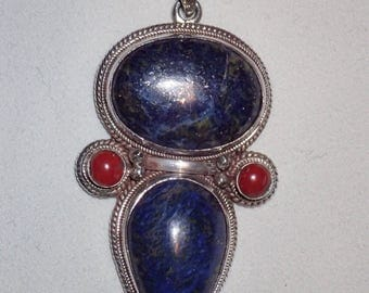 Oval and Teardrop Lapis Lazuli Sterling Silver Pendant with coral