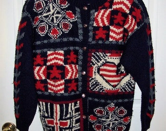 Vintage 80s Ladies Red, White & Blue Wool Cardigan Sweater by Jayson Younger Small Only 12 USD