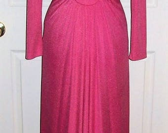 Vintage 1960s Ladies Pink Empire Waist Maxi Dress Small Mod Retro Chic Only 14 USD
