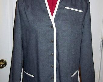 Vintage 1970s Ladies Gray & White Secretary Dress or Uniform by Leslie Fay Medium Only 7 USD