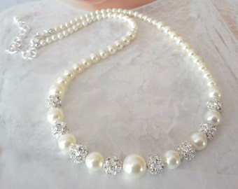 Pearl necklace ~ Brides pearl necklace ~ Pearl wedding necklace ~ Graduating pearl necklace, Swarovski pearls necklace ~ DESTINY