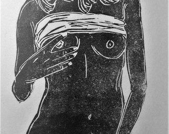 """inspiration erotique vintage linogravure imprimé à l'encre à l'huile  sur papier de riz  """" maria """""""