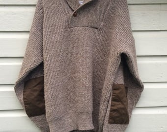 Vintage L.L. Bean Wool Henley Sweater L - Leather Button - Elbow Patches - Tan Heather Knit - Shawl Roll Collar - Natural Marl Color