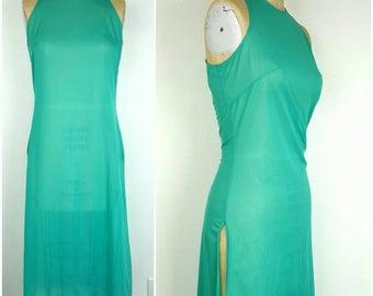Sheer Deep Mint Night Gown - M/L