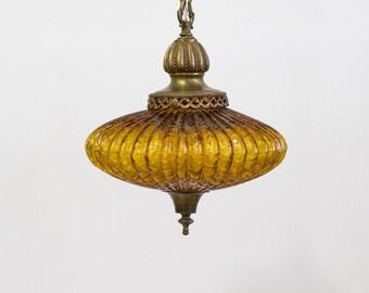 Vintage Swag Lamp / Pendant Lamp, Genie Style Amber Orange Globe,