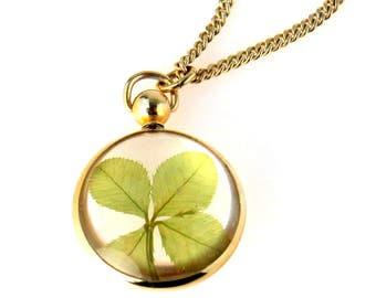 Four Leaf Clover in Bubble Locket Charm Necklace
