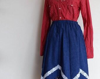 salvation armani vintage western skirt - bandanna and denim skirt - womens western skirt - swing dancing - square dancing - rodeo skirt -
