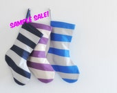BLACK FRIDAY SALE! Seuss Christmas Stocking Sample Sale! Cyber Monday Sale! Modern Striped Family & Kids Holiday Socks Samples, Short Size