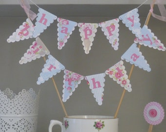Happy Birthday Cake Bunting - Tea Party Topper - Pastel Pink & Blue