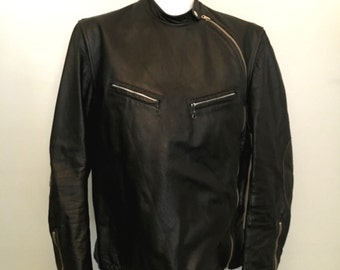 vintage Score Leather Cafe Racer 1960s Collectible very rare, Chest 40 Steve Mcqueen leather motorcycle jacket