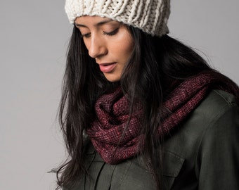 Chunky knit hat, White beanie hat, Undyed organic merino wool