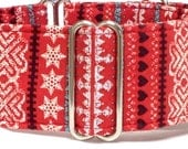 Christmas Greyhound, Whippet, Sighthound Martingale Collar or Buckle Dog Collar