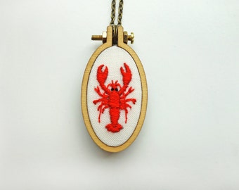 Embroidered Lobster Necklace
