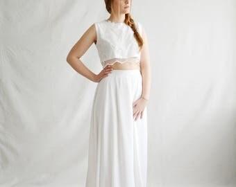 Boho wedding dress, Crop top wedding dress, Bohemian wedding dress, Bridal separates, Wedding separates, Beach wedding dress, Wedding top
