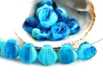 Blue Shell beads, Czech Glass Aqua blue mixed colored 9mm seashell, beach jewelry, nautical, sea color - 20Pc - 2859