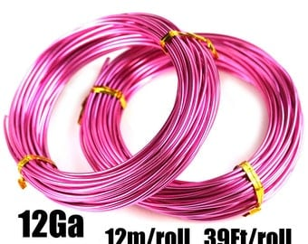 12 Gauge wire, 2mm thick Hot Pink Aluminum Craft Wire, Bright Pink Color, 12m roll, 39Ft, colored wire for jewelry making - LC108