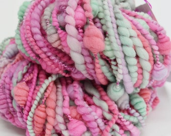Chunky Hand Spun Merino Wool Coil Art Yarn knitting weaving felting weaving dolls hair hand dyed fibre arts Soft Pink Green 11818