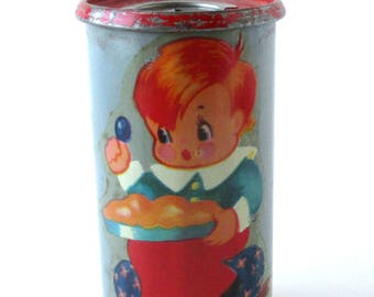 Antique Tin Childs Bank, 1930s Coin Bank, Still Bank, toy bank