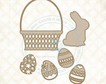 Blue Fern Studios Laser Cut Chipboard Bunny Basket, Easter, Bunny, Basket, & Eggs