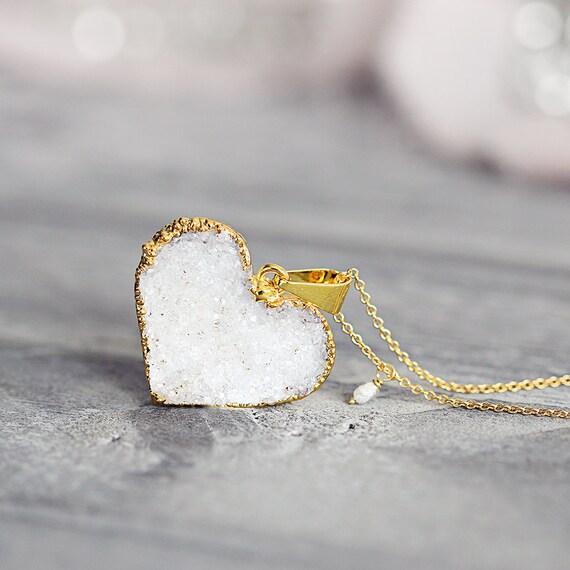 White Heart Necklace - Druzy Heart Pendant with Rough Diamond
