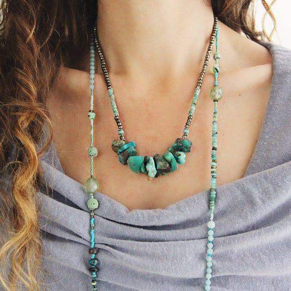 Chunky Turquoise Necklace - Gemstone Statement Necklace