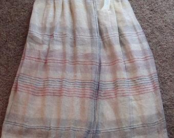 HANDWOVEN RAW SILK plaid midi skirt natural S