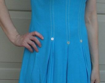 bobbie brooks AQUA MOD DRESS fit and flare vintage 60's 1960's S