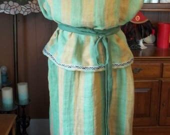 Roman Peplos (Lady's Dress) - Double Layered/Folded - Green and Light Brown Striped Yarn Dye Linen with Geometric Trim