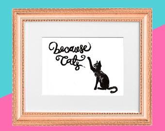 "Original Handmade Lino Cut Art Print - Signed & Mounted - 12x10"" - 'Because Cats' - Arthur - Black or Brown on White"