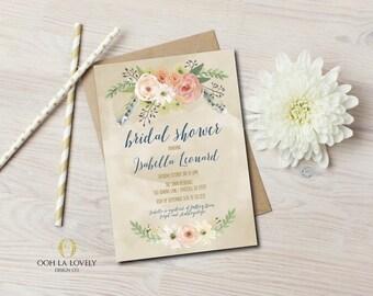 Bridal Shower Invitation, Floral Bridal Shower Invite, Watercolor, Printable Invitation, Fall, Shabby Chic, Boho, baby shower invitation