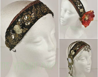 Black Vintage Sari Trim Headdress Base- Black and Gold Silk Trim with Glam Sparkle and Tribal Accents