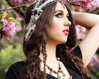 Tribal Chain Headdress- Art Nouveau Silver Glass Bead Trim and Chunky Chain Tribal Fusion or Boho Headpiece