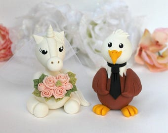 Wedding cake topper, Eagle and Unicorn custom cake topper, American Bald Eagle wedding cake topper, bride and groom, wedding keepsake